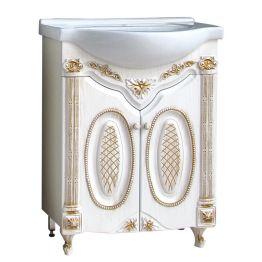 Тумба Атолл Наполеон 65 белый жемчуг/патина золото