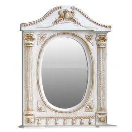Зеркало Атолл Наполеон 95 белый жемчуг/патина золото