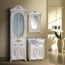 Зеркало Атолл Наполеон 65 белый жемчуг/патина золото