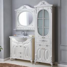 Зеркало Атолл Наполеон 85 белый жемчуг/патина серебро