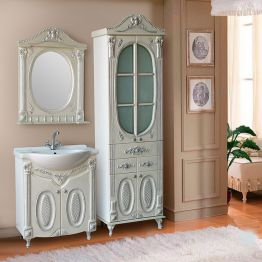 Зеркало Атолл Наполеон 75 белый жемчуг/патина серебро