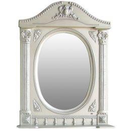 Зеркало Атолл Наполеон 65 белый жемчуг/патина серебро