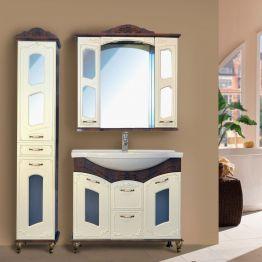 Зеркальный шкаф Атолл Мастер и Маргарита 97 белый жемчуг/орех