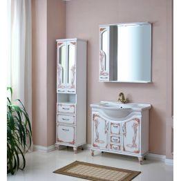 Зеркальный шкаф Атолл Барселона 85 белый/патина медь